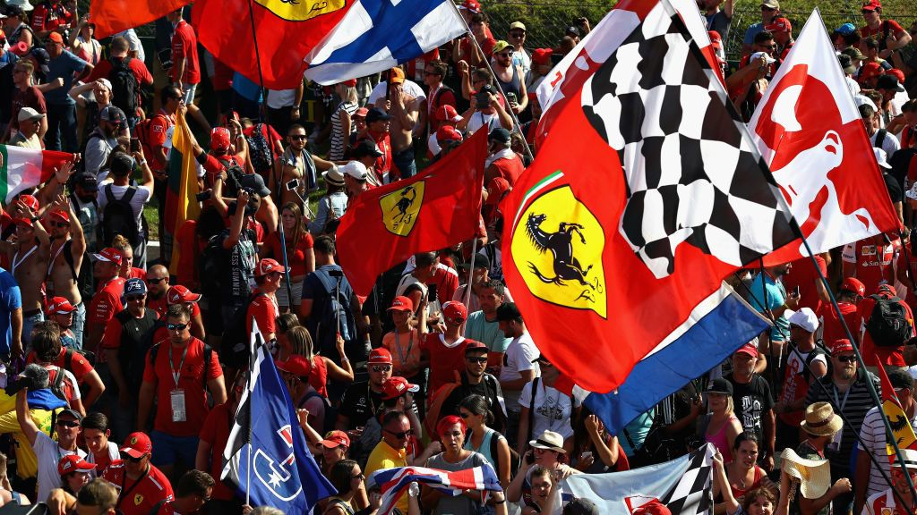 BUDAPEST, HUNGARY - JULY 29:  Fans wave flags during the Formula One Grand Prix of Hungary at Hungaroring on July 29, 2018 in Budapest, Hungary.  (Photo by Mark Thompson/Getty Images)
