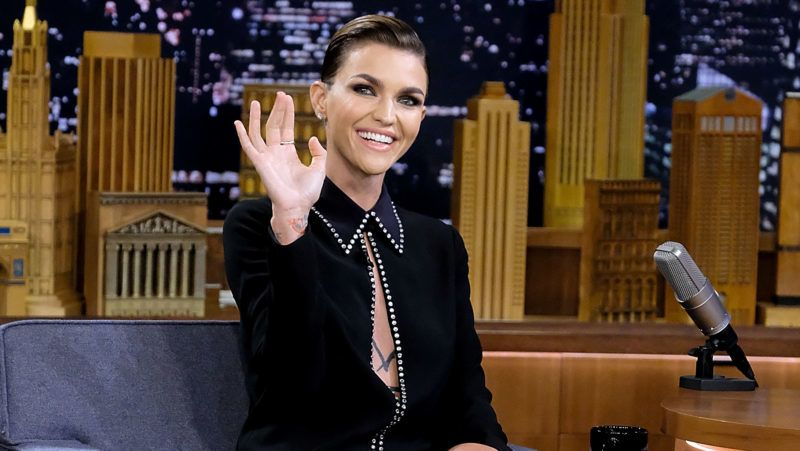 """NEW YORK, NY - AUGUST 08: Ruby Rose visits """"The Tonight Show Starring Jimmy Fallon"""" at Rockefeller Center on August 8, 2018 in New York City.  (Photo by Jamie McCarthy/Getty Images)"""