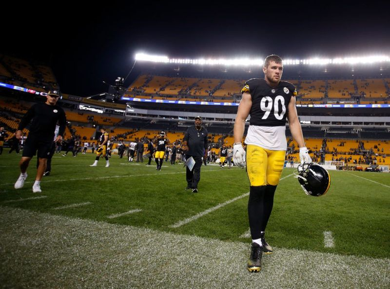 PITTSBURGH, PA - SEPTEMBER 30: T.J. Watt #90 of the Pittsburgh Steelers walks off the field after being defeated by the Baltimore Ravens 26-14 at Heinz Field on September 30, 2018 in Pittsburgh, Pennsylvania. (Photo by Justin K. Aller/Getty Images)