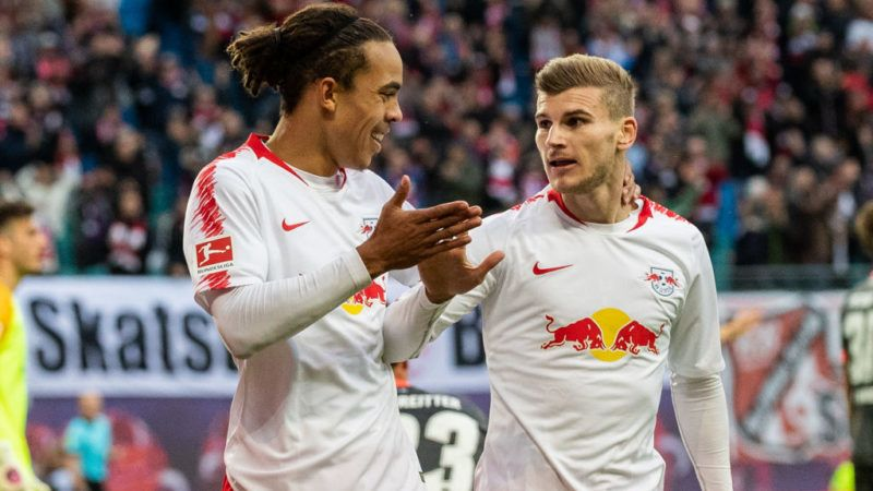 LEIPZIG, GERMANY - OCTOBER 07: Yussuf Poulsen of RB Leipzig celebrates with team mate Timo Werner of RB Leipzig after scoring his team's second goal during the Bundesliga match between RB Leipzig and 1. FC Nuernberg at Red Bull Arena on October 7, 2018 in Leipzig, Germany.  (Photo by Boris Streubel/Bongarts/Getty Images)