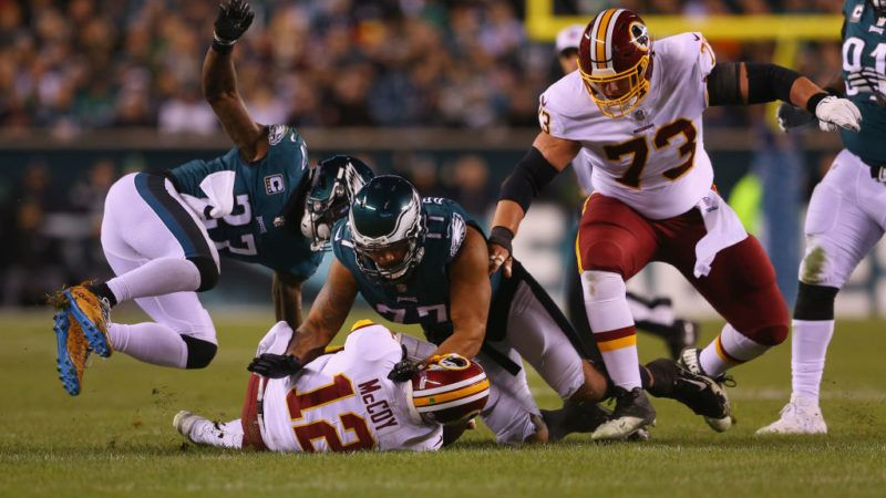 PHILADELPHIA, PA - DECEMBER 03:  Quarterback Colt McCoy #12 of the Washington Redskins is sacked by safety Malcolm Jenkins #27 and defensive end Michael Bennett #77 of the Philadelphia Eagles in the first quarter at Lincoln Financial Field on December 3, 2018 in Philadelphia, Pennsylvania.  (Photo by Mitchell Leff/Getty Images)