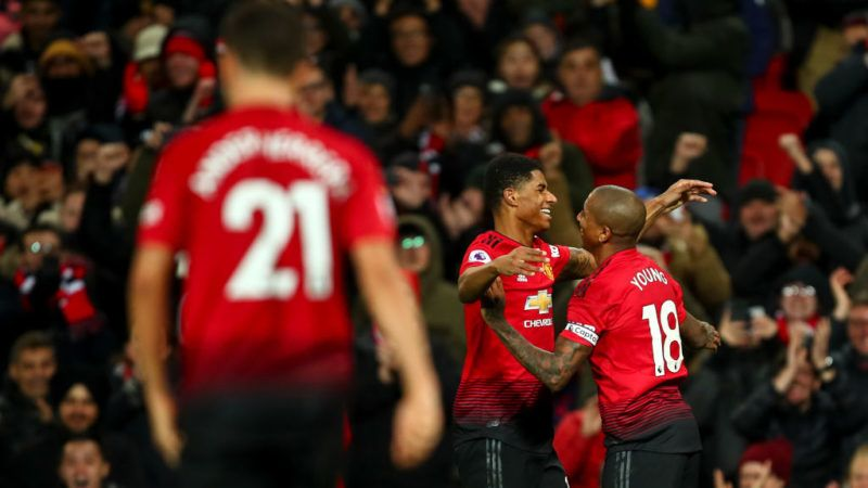 MANCHESTER, ENGLAND - DECEMBER 08: Marcus Rashford of Manchester United celebrates after scoring a goal to make it 4-1 during the Premier League match between Manchester United and Fulham FC at Old Trafford on December 8, 2018 in Manchester, United Kingdom. (Photo by Robbie Jay Barratt - AMA/Getty Images)