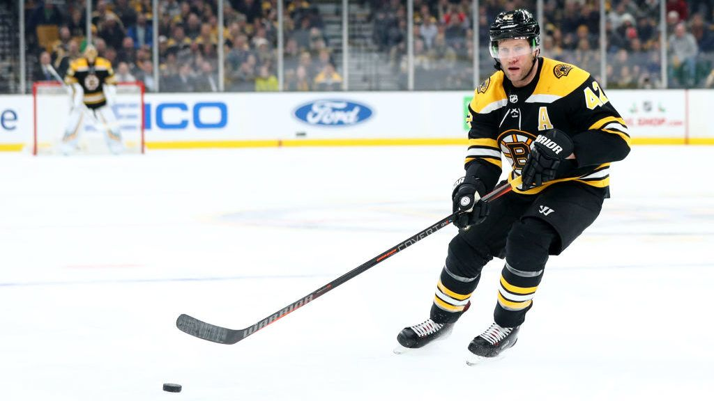 BOSTON, MA - DECEMBER 11: David Backes #42 of the Boston Bruins skates against the Arizona Coyotes during the third period at TD Garden on December 11, 2018 in Boston, Massachusetts. The Bruins defeat the Coyotes 4-3. (Photo by Maddie Meyer/Getty Images)