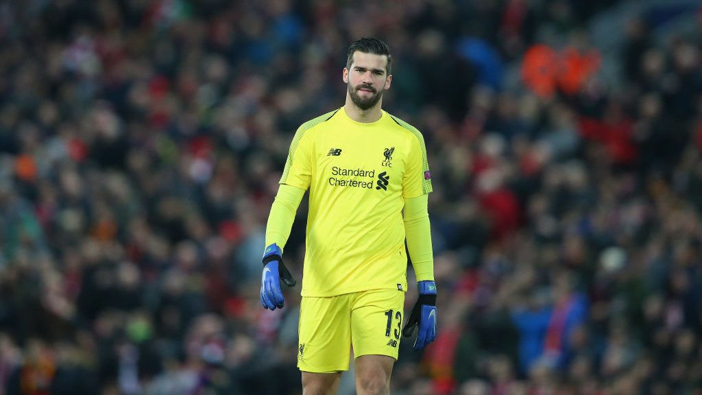 LIVERPOOL, ENGLAND - DECEMBER 11:  Alisson Becker of Liverpool looks on during the UEFA Champions League Group C match between Liverpool and SSC Napoli at Anfield on December 11, 2018 in Liverpool, United Kingdom.  (Photo by Alex Livesey - Danehouse/Getty Images)