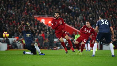 LIVERPOOL, ENGLAND - DECEMBER 16:  Xherdan Shaqiri of Liverpool scores his team's third goal during the Premier League match between Liverpool FC and Manchester United at Anfield on December 16, 2018 in Liverpool, United Kingdom.  (Photo by Clive Brunskill/Getty Images)