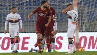 Federico Fazio celebrates after scoring goal 1-1 during the Italian Serie A football match between A.S. Roma and Genoa at the Olympic Stadium in Rome, on december 16, 2018. (Photo by Silvia Lore/NurPhoto via Getty Images)