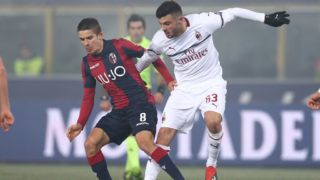 MILAN, ITALY - DECEMBER 18: (L-R) Adam Nagy of Bologna FC, Patrick Cutrone of AC Milan  during the Italian Serie A   match between Bologna v AC Milan at the San Siro on December 18, 2018 in Milan Italy (Photo by Danilo Di Giovanni/Soccrates/Getty Images)