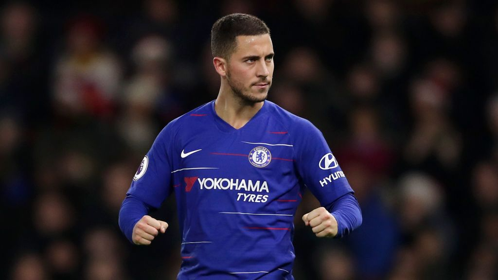WATFORD, ENGLAND - DECEMBER 26:  Eden Hazard of Chelsea celebrates after scoring his team's second goal from the penalty spot during the Premier League match between Watford FC and Chelsea FC at Vicarage Road on December 26, 2018 in Watford, United Kingdom.  (Photo by Richard Heathcote/Getty Images)