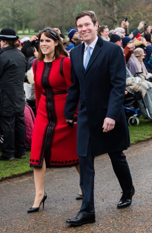 KING'S LYNN, ENGLAND - DECEMBER 25: Princess Eugenie of York and Jack Brooksbank attend Christmas Day Church service at Church of St Mary Magdalene on the Sandringham estate on December 25, 2018 in King's Lynn, England. (Photo by Samir Hussein/WireImage)