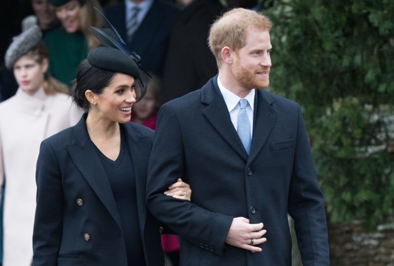 KING'S LYNN, ENGLAND - DECEMBER 25:  Meghan, Duchess of Sussex and Prince Harry, Duke of Sussex attend Christmas Day Church service at Church of St Mary Magdalene on the Sandringham estate on December 25, 2018 in King's Lynn, England. (Photo by Samir Hussein/WireImage)