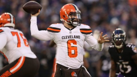 BALTIMORE, MARYLAND - DECEMBER 30: Quarterback Baker Mayfield #6 of the Cleveland Browns throws a touchdown in the first quarter against the Baltimore Ravens at M&T Bank Stadium on December 30, 2018 in Baltimore, Maryland. (Photo by Rob Carr/Getty Images)