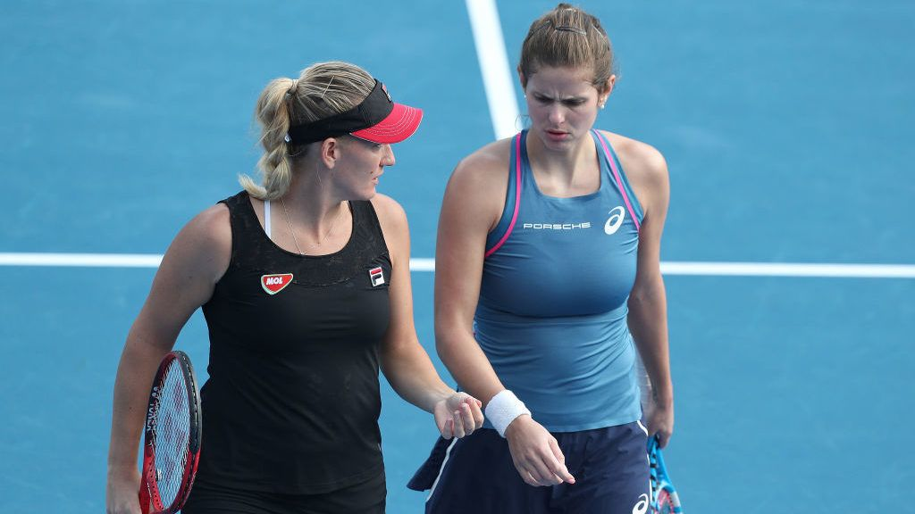 AUCKLAND, NEW ZEALAND - DECEMBER 31: Julia Goerges of Germany (R)  and Timea Babos of Hungary talk tactics in their doubles match against Alexa Guarachi of Chile and Erin Routliffe of New Zealand during day one of the 2019 ASB Classic at the ASB Tennis Centre on December 31, 2018 in Auckland, New Zealand. (Photo by Dave Rowland/Getty Images)