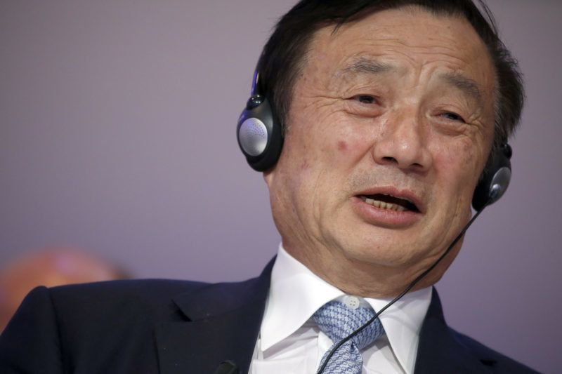 Ren Zhengfei, billionaire and president of Huawei Technologies Co., speaks during a session on day two of the World Economic Forum (WEF) in Davos, Switzerland, on Thursday, Jan. 22, 2015. World leaders, influential executives, bankers and policy makers attend the 45th annual meeting of the World Economic Forum in Davos from Jan. 21-24. Photographer: Jason Alden/Bloomberg via Getty Images