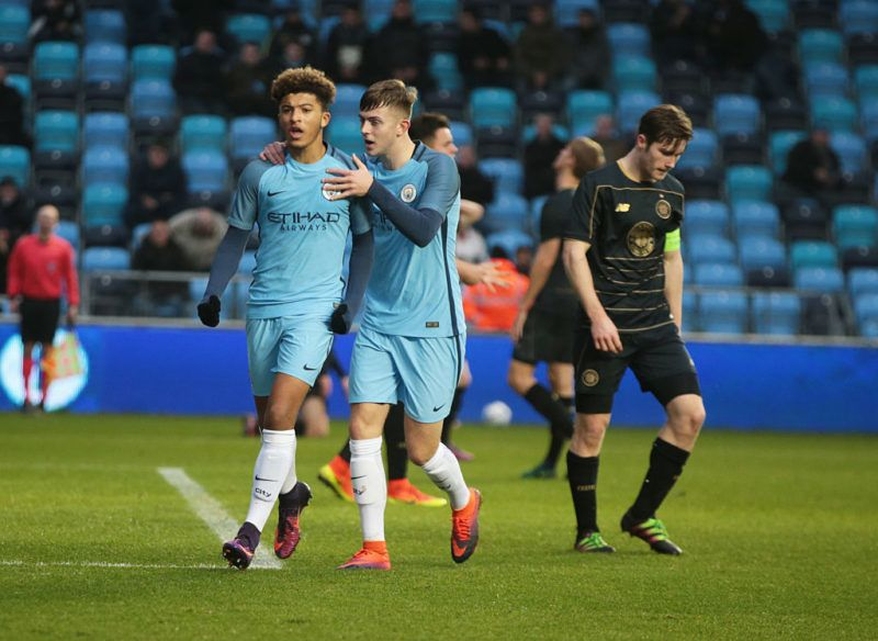 Jadon Sancho  of Manchester CityUner 19s celebrates his goal during  U19 UEFA Youth League match between Manchester City Under 19s against Celtic Under 19s at Academy Stadium  on December 06 2016 (Photo by Kieran Galvin/NurPhoto via Getty Images)