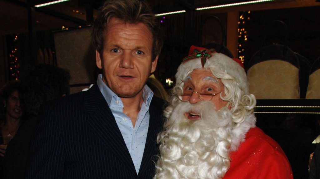 LONDON - DECEMBER 07:  (EMBARGOED FOR PUBLICATION IN UK TABLOID NEWSPAPERS UNTIL 48 HOURS AFTER CREATE DATE AND TIME)  Gordon Ramsay with father christmas attend Asprey 225th Anniversary party, at Asprey on December 7, 2006 in London, England.  (Photo by Dave M. Benett/Getty Images)