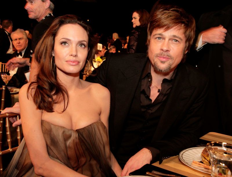 LOS ANGELES - JANUARY 27:  Actress Angelina Jolie (L) and actor Brad Pitt attend the cocktail party during the 14th annual Screen Actors Guild awards held at the Shrine Auditorium on January 27, 2008 in Los Angeles, California.  (Photo by Kevin Winter/Getty Images)