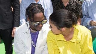 PARIS, FRANCE - JUNE 21:  Travis Scott and Kylie Jenner attend the Louis Vuitton Menswear Spring/Summer 2019 show as part of Paris Fashion Week  Week on June 21, 2018 in Paris, France.  (Photo by Stephane Cardinale - Corbis/Corbis via Getty Images)