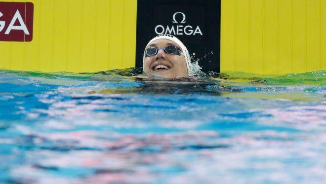 Hangcsou, 2018. december 14.Hosszú Katinka örül, miután megnyerte a nők 100 méter vegyesúszásának döntőjét a kínai Hangcsouban zajló rövidpályás úszó-világbajnokságon 2018. december 14-én.MTI/EPA/Roman Pilipej