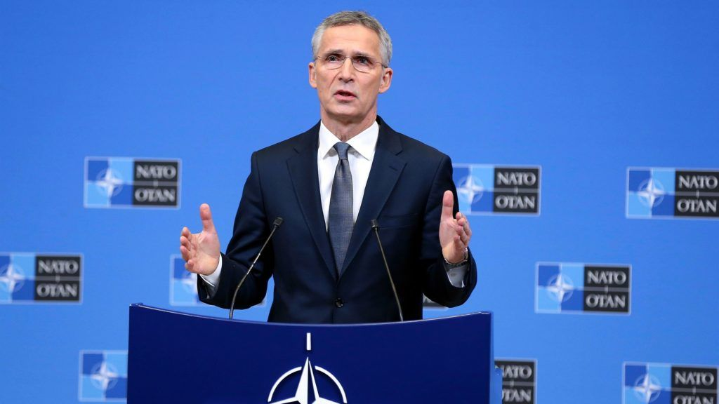 BRUSSELS, BELGIUM - DECEMBER 3:  NATO Secretary General Jens Stoltenberg holds a press conference ahead of a two-day NATO Ministers of Foreign Affairs meeting, in Brussels, Belgium on December 3, 2018.  Dursun Aydemir / Anadolu Agency