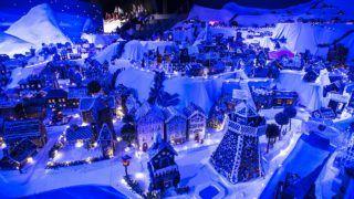 Bergen, 2018. december 19. A hagyományos mézeskalácsváros a norvégiai Bergenben 2018. december 19-én. A világ legnagyobb mézeskalácsból készített miniatûr városának elkészítésében iskolai és óvodás gyermekek is részt vettek. MTI/EPA/NTB SCANPIX/Marot Homedal