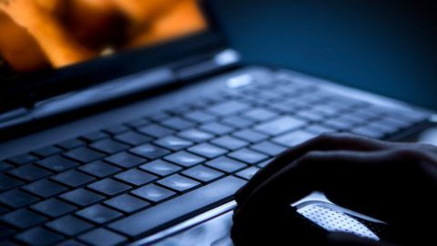 Sex on laptop computer. Pornography