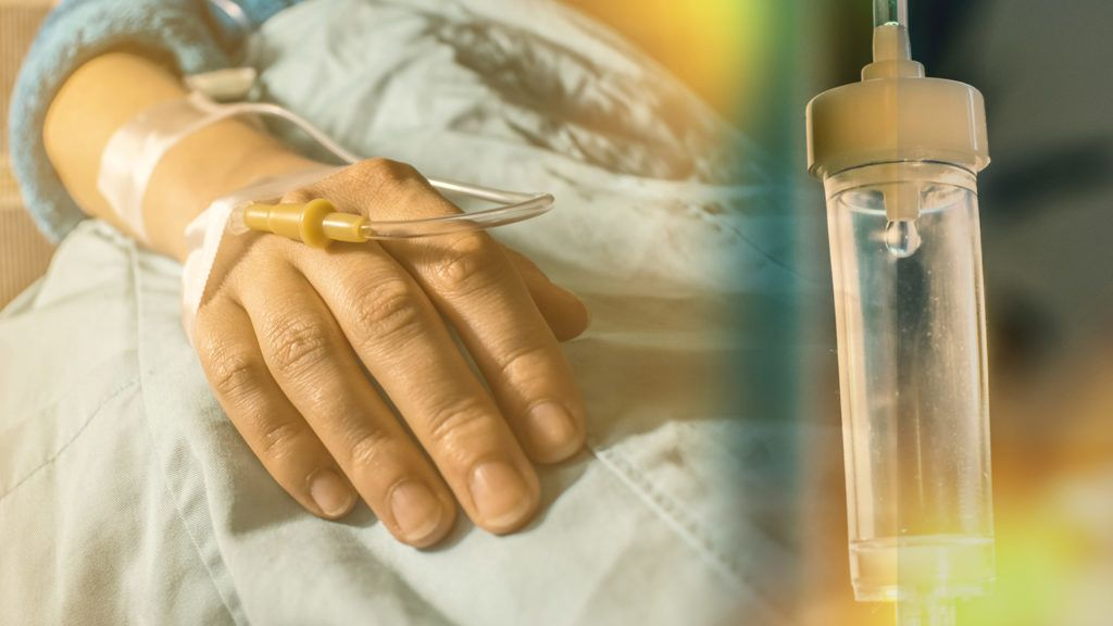 Cancer patient and perfusion drip concept  cancer treatment