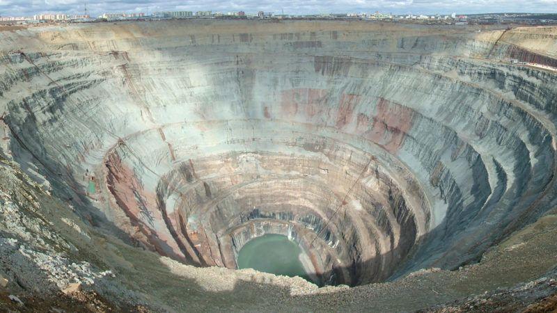 Deep quarry for diamond mining.