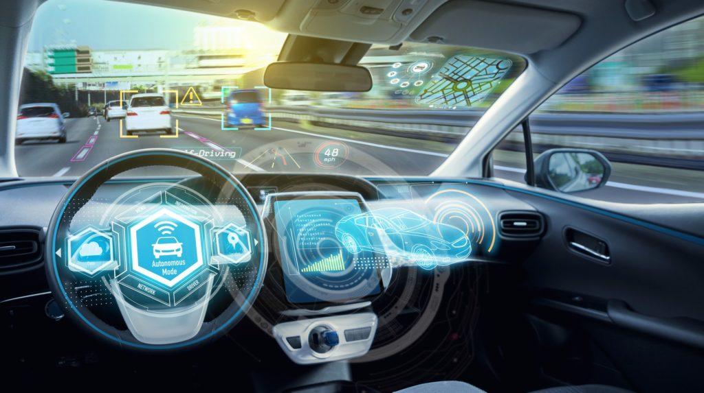Empty cockpit of autonomous car, HUD(Head Up Display) and digital speedometer. self-driving vehicle.