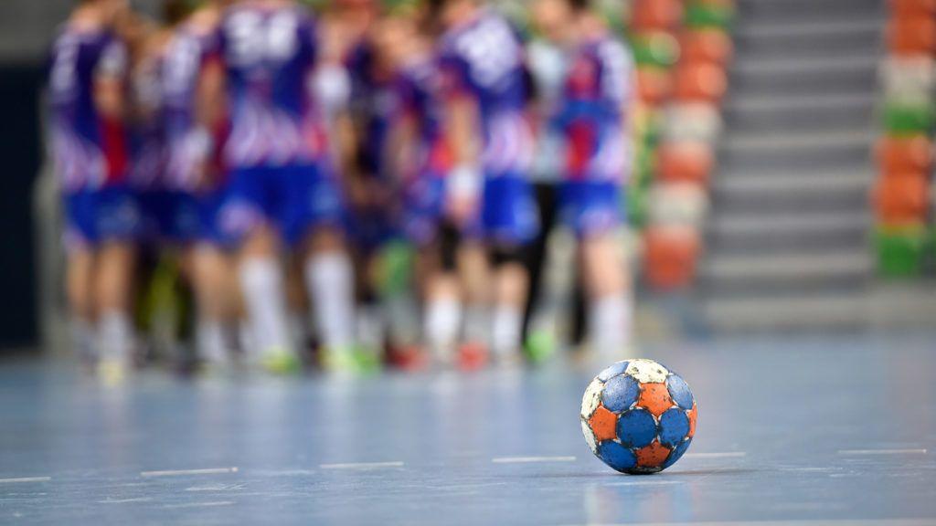 The ball during handball match time .