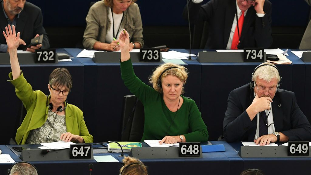 Member of European Parliament Judith Sargentini (C) votes on the situation in Hungary during a voting session at the European Parliament on September 12, 2018 in Strasbourg, eastern France. (Photo by FREDERICK FLORIN / AFP)