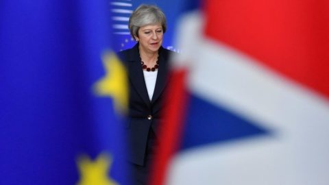 Britain's Prime Minister Theresa May arrives at the European Council in Brussels on October 17, 2018. - British Prime Minister Theresa May is due to address a summit of European Union leaders in which Brexit negotiations are expected to be top of the agenda. (Photo by EMMANUEL DUNAND / AFP)