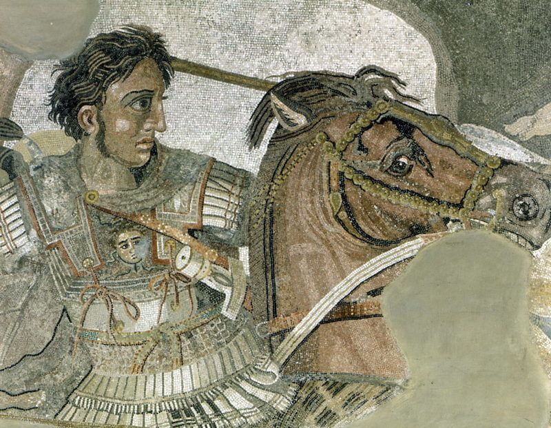 Alexandre III le Grand. Détail de la mosaïque de la bataille d'Issos. Naples.     RVB-02669