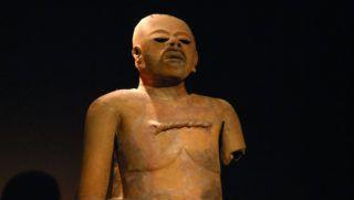 Chile, Santiago de Chile, Pre-Columbian Art Museum, a statue of a god Xipe Totec Toltec