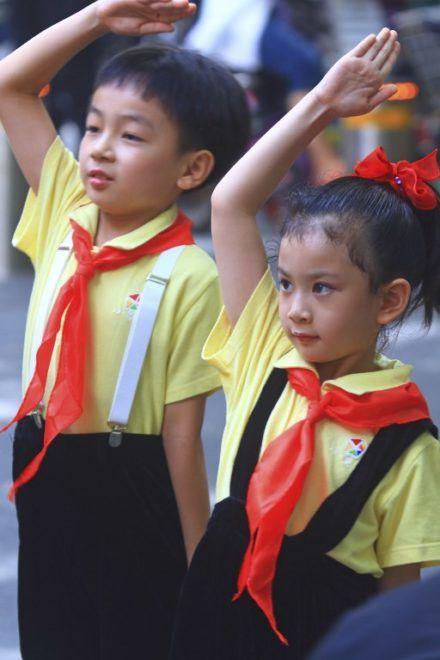 Asia, China, Shanghai.. Chinese school children