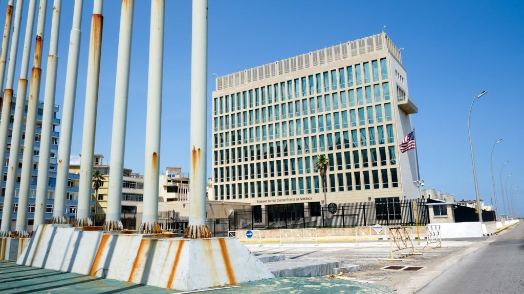 21.06.2018, Cuba, Havana: The US Embassy on the Malecon waterfront. She is the US diplomatic mission in Cuba. Photo: Jens Kalaene / dpa central image / dpa   usage worldwide