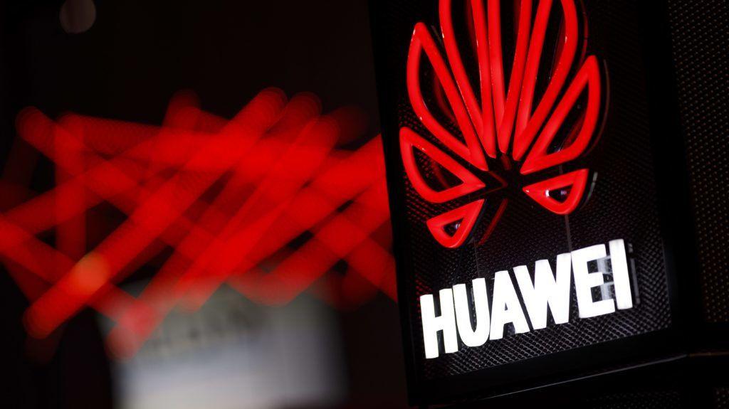 Huawei logo at DIGITAL 2018 in Koelnmesse. Koln, 08.11.2018   usage worldwide