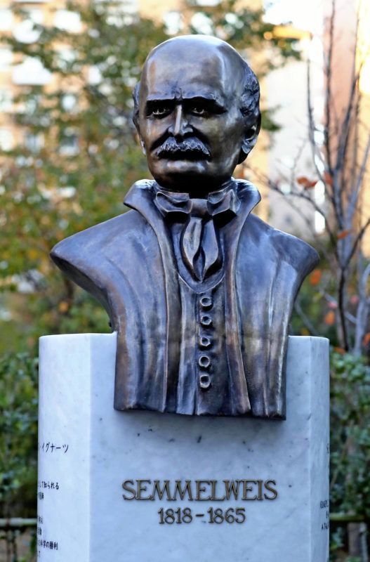 Hungarian doctor Ignaz Philipp Semmelweis' statue is pictured at Japan Red Cross Medical Center in Tokyo on November 14, 2018, to mark his 200th anniversary of birth. Japan's Empress Michiko attended the ceremony to set the statue on the same day.( The Yomiuri Shimbun )