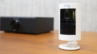 """SEATTLE, WA - SEPTEMBER 20: A """"Ring Stick Up Cam"""" is pictured at the Amazon Headquarters, on September 20, 2018 in Seattle Washington. The camera was launched alongside more than 70 Alexa-enable products during the event.   Stephen Brashear/Getty Images/AFP"""