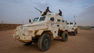 Barkhane french military operation in Kidal, dangerous area in north of Mali. Kidal - Mali - august 2018. Quotidien des soldats de Barkhane, l'opération extérieure française, dans la petite base avancée de Kidal, une région très dangereuse du Nord Mali. Kidal - Mali - août 2018.