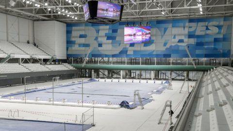 Budapest, 2018. január 31.Az átépítés alatt álló Duna Aréna 2018. január 31-én. Az uszodát a vizes világbajnokság utáni igényeknek megfelelően építik át május végéig.MTI Fotó: Koszticsák Szilárd