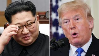 (COMBO) This combination of pictures created on November 12, 2018 shows North Korea's leader Kim Jong Un(L) during the Inter-Korean summit in the Peace House building on the southern side of the truce village of Panmunjom on April 27, 2018, and US President Donald Trump during a post-election press conference in the East Room of the White House in Washington, DC on November 7, 2018. - North Korea is operating at least 13 undeclared bases to hide mobile, nuclear-capable missiles, a new study released November 12, 2018 has found, raising fresh doubts over US President Donald Trump's signature foreign policy initiative. Trump has hailed his July summit with North Korean leader Kim Jong Un as having opened the way to denuclearization of the divided peninsula, defusing tensions that less than a year ago brought the two countries to the brink of conflict. (Photos by Korea Summit Press Pool and MANDEL NGAN / various sources / AFP)