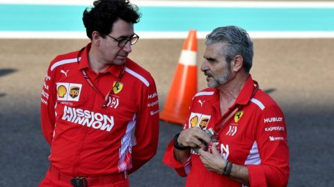 Ferrari Team Principal Maurizio Arrivabene (R) talks to Ferrari technical director Mattia Binotto ahead of the Abu Dhabi Formula One Grand Prix at the Yas Marina circuit on November 22, 2018. (Photo by Andrej ISAKOVIC / AFP)