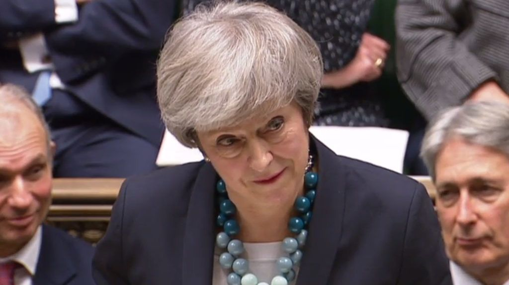"""A video grab from footage broadcast by the UK Parliament's Parliamentary Recording Unit (PRU) shows Britain's Prime Minister Theresa May making a statement in the House of Commons in London on December 10, 2018. - Theresa May told the house that the Brexit withdrawal bill will be deferred. (Photo by HO / various sources / AFP) / RESTRICTED TO EDITORIAL USE - NO USE FOR ENTERTAINMENT, SATIRICAL, ADVERTISING PURPOSES - MANDATORY CREDIT """" AFP PHOTO / PRU """""""