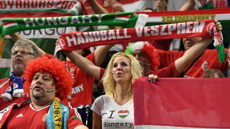 Hungary fans cheer prior to the IHF Men's World Championship 2019 Group D handball match between Hungary and Egypt at the Royal Arena in Copenhagen on January 16, 2019. (Photo by Jonathan NACKSTRAND / AFP)