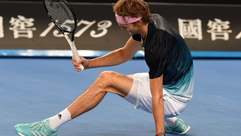 Germany's Alexander Zverev recovers after a point against France's Jeremy Chardy during their men's singles match on day four of the Australian Open tennis tournament in Melbourne on January 17, 2019. (Photo by Greg Wood / AFP) / -- IMAGE RESTRICTED TO EDITORIAL USE - STRICTLY NO COMMERCIAL USE --