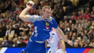 Frederic Pettersson (18) of Sweden during the men's IHF Handball World Championship placement match 5-6 between Croatia and Sweden in Herning on January 26, 2019. (Photo by Bo Amstrup / Ritzau Scanpix / AFP) / Denmark OUT