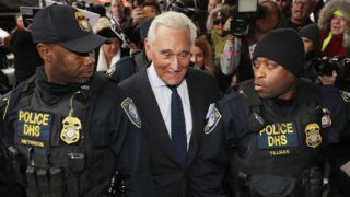 WASHINGTON, DC - JANUARY 29: Roger Stone, a longtime adviser to President Donald Trump, arrives at the Prettyman United States Courthouse before facing charges from Special Counsel Robert Mueller that he lied to Congress and engaged in witness tampering January 29, 2019 in Washington, DC. A self-described 'political dirty-trickster,' Stone said he has been falsely accused and will plead 'not guilty.'   Chip Somodevilla/Getty Images/AFP