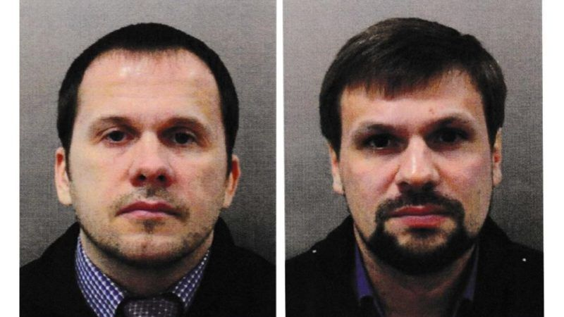 """LONDON, UNITED KINGDOM - SEPTEMBER 05 : (EDITOR'S NOTE: COMPOSITE IMAGE) (----EDITORIAL USE ONLY – MANDATORY CREDIT - """"SCOTLAND YARD / HANDOUT"""" - NO MARKETING NO ADVERTISING CAMPAIGNS - DISTRIBUTED AS A SERVICE TO CLIENTS----) A photo shows images of Alexander Petrov (L) and Ruslan Boshirov (R), wanted for conspiracy to murder Sergei Skripal and the attempted murder of Yulia Skripal and police officer Nick Bailey in London, United Kingdom on September 05, 2018. British prosecutors on Wednesday named two Russian nationals as the suspects of the Salisbury attack that targeted former Russian spy Sergei Skripal and his daughter Yulia Skripal earlier this year. Scotland Yard / Handout / Anadolu Agency"""