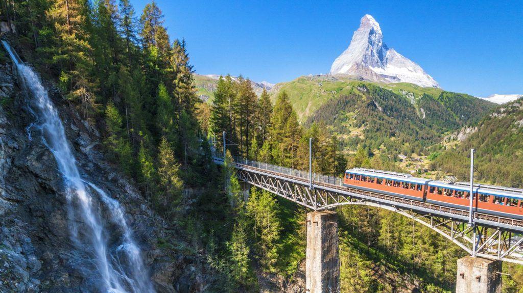 Gornergrat Bahn train on viaduct with Matterhorn in the background, Zermatt, canton of Valais, Switzerland, Europe