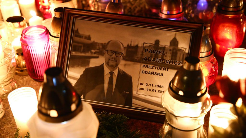 Several thousand people march throught the center of Warsaw, Poland on January 14, 2019 in commemoration of Pawel Adamowicz, Mayor of Gdansk, who was stabbed on stage on Sunday during a national charity event and died of wounds in a hospital a day after.  (Photo by Beata Zawrzel/NurPhoto)